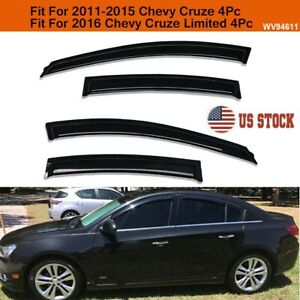 4pc Smoke Window Visors Sun Rain Guards Vent Shade Fit For 2011 2015 Chevy Cruze