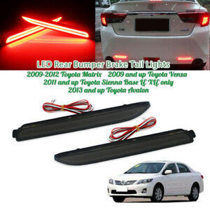 Smoked Lens Led Rear Bumper Reflector Brake Stop Taillight For Toyota Sienna Etc