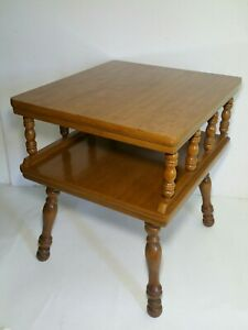 Vintage Mid Century Square Maple Wood 2 Tier End Table Spindles Traditional