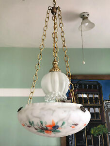 Vintage Art Deco Hanging Painted Ceiling Light Shade Flycatcher Bowl