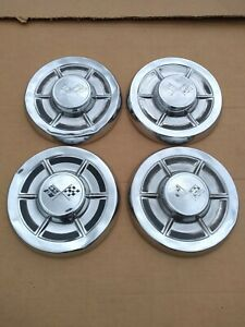 1959 Chevrolet Bel Air Biscayne Corvette Big Brake Dog Dish Hubcaps Original Oem