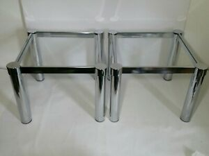 Vintage Pair Of Mid Century Modern Chrome Metal And Glass Space Age Tables