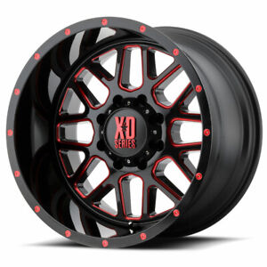 Xd Series Xd820 Grenade 20x9 6x135 Et18 Black Milled W Red Clear Coat Qty Of 4