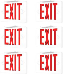 6 Pack Led Emergency Exit Light Sign Battery Backup Ul924 Fire red