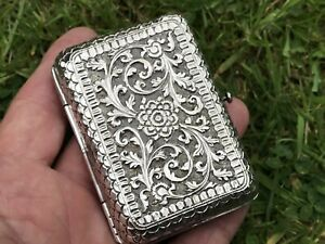 Antique Indian Silver Cigarette Case Kutch 1900 98 Gms