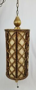 Mid Century Faux Bamboo Swag Light Chandelier Lamp Chippendale Regency Vintage
