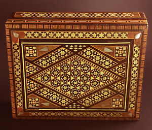 Vintage Inlaid Wooden Trinket Box Jewelry Chest Midddle Eastern Design