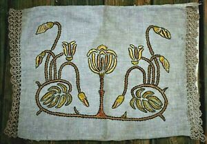 Antique 20 S Arts Crafts Mission Pillow Case Embroidered Linen Crochet End Caps