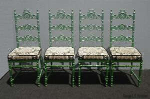 Vintage Hollywood Regency Wrought Iron Metal Patio Dining Chairs