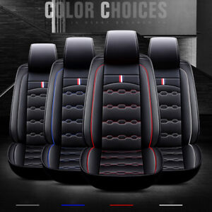 5 seat Pu Leather Car Seat Cover Protector cushion Front Rear Full Set