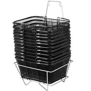 12pcs Black Shopping Baskets 20kg 44lbs Convenience Store Metal Powder Coating