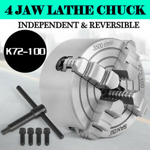 K72 100 4 4 Jaw Lathe Chuck Independent Semi steel Wood Turning Lathe Chuck