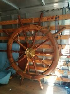 Vintage Antique 72 10 Spoke Wood And Brass Ship S Wheel Heavy