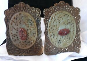 C1890 Qing Dynasty Chinese Carved Jade Bronze Bookends W Agate Shields