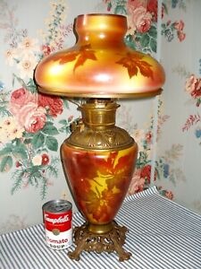 C 1910 Consolidated Fall Leaves Gwtw Parlor Banquet Lamp Victorian Antique