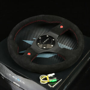 Nrg 320mm 6 Holes Bolts 2 Horn Buttons Style Steering Wheel Black Suede Grip