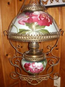 C 1910 Pittsburgh Hanging Parlor Lamp Excellent All Original Victorian Gwtw