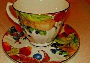 Duchess Bone China England Tea Cup And Saucer Fruit Berries Flowers