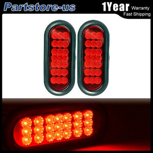 2pcs Red 6 Inch Oval 21 Led Truck Trailer Stop Turn Tail Brake Lights W Grommet