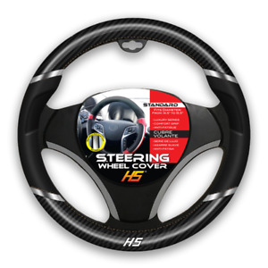 Steering Wheel Cover Black Chrome Inserts Carbon Fiber With Comfort Grip