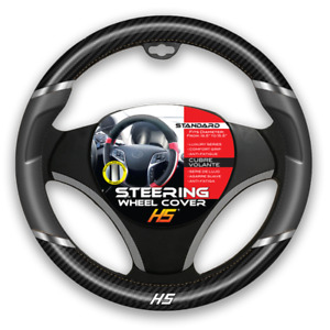Steering Wheel Cover Grey Chrome Inserts Carbon Fiber With Comfort Grip