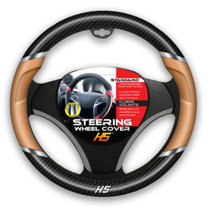 Steering Wheel Cover Tan Chrome Inserts Carbon Fiber With Comfort Grip