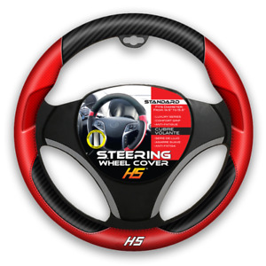 Steering Wheel Cover Red Carbon Fiber With Comfort Grip
