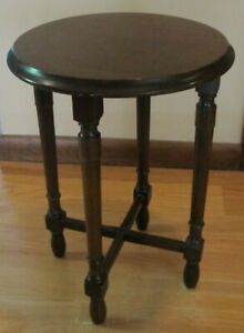 Antique Round Wood Plant Stand 13 Wide By 18 Tall