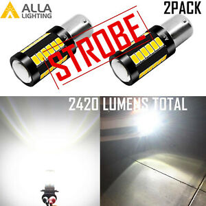 Alla Led Strobe Solid White 1156 Back Up Light Bulb Safety Reverse Backup Lamp