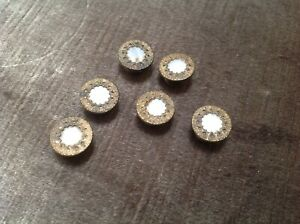 Set Of 6 Antique Matching Mother Of Pearl In Brass Stud Buttons