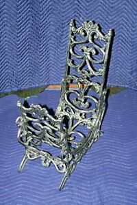 Ornate Gothic 28 Tall Large Cast Iron Curved Fireplace Log Holder W Tool Hooks