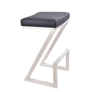 Atlantis 26 Counter Height Backless Barstool In Brushed Stainless Steel