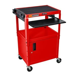Adjustable Height Red Metal A v Cart W Pullout Keyboard Tray And Cabinet