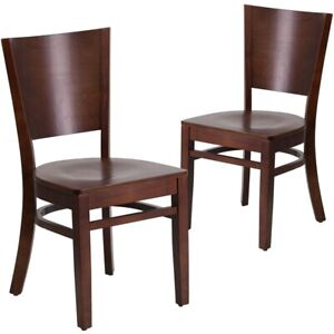 2 Pk Lacey Series Solid Back Walnut Wooden Restaurant Chair