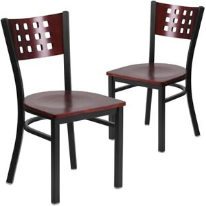 2 Pk Hercules Series Black Decorative Cutout Back Metal Restaurant Chair