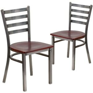 2 Pk Hercules Series Clear Coated Ladder Back Metal Restaurant Chair