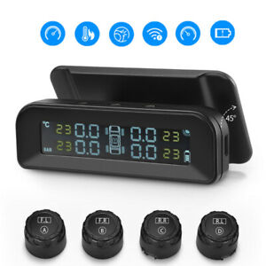 Lcd Car Wireless Tpms Solar Tire Tyre Pressure Monitor System 4 External Sensors