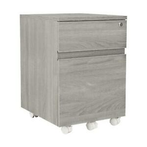 Rolling Two Drawer Vertical Filing Cabinet With Lock And Storage Grey