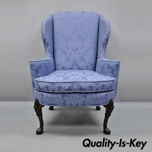 Vintage Queen Anne Wingback Chair Blue Upholstered Lounge Arm Chair By Sherrill