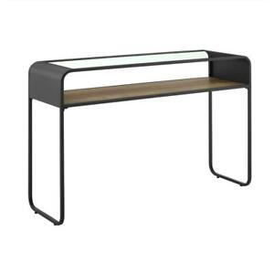 46 Curved Metal Glass Entryway Table Rustic Oak