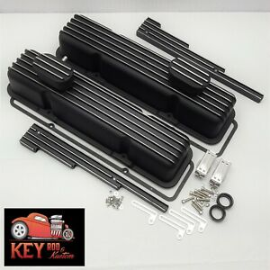 Small Black Chevy Black Finned Aluminum Valve Covers Breathers Sbc 350 400 305