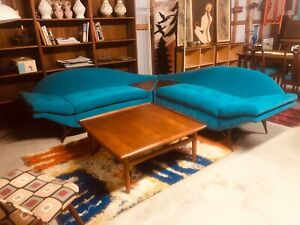 Mid Century Modern Karpen Of California Sectional Sofa Couch Restored