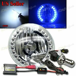 Fit Harley 1pc 7 Round 18 Blue Led Reflector Headlight Bi Xenon 35w Hid 8000k