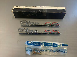Nos 1963 1964 Chevy Ii Nova Red Ss Rear Quarter Panel Emblem Badge Gm 4883158