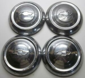 1951 1952 1953 Chevrolet 9 1 2 Inch Dog Dish Hubcaps Lot Of 4