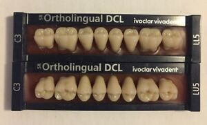 Ivoclar Vivadent Ortholingual Dcl 2 Cards Of C3 Teeth For Dental Lab Materials