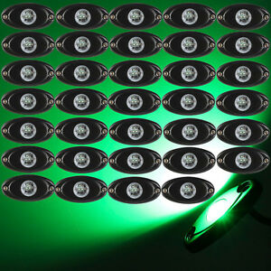 30x Cree Led Rock Light Green For Car Truck Boat Underbody Glow Trail Rig Light