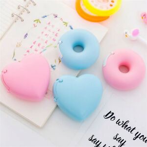 Cute Heart Donut Shape Tape Dispenser Cutter Holder 1 Roll Adhesive Tape Sticker