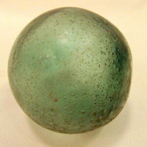 Vintage Green Aqua Hand Blown Glass Fishing Net Ball Float