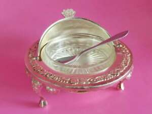 English Butter Dish With Revolving Lid Glass Liner Silver Plated Antique Epns